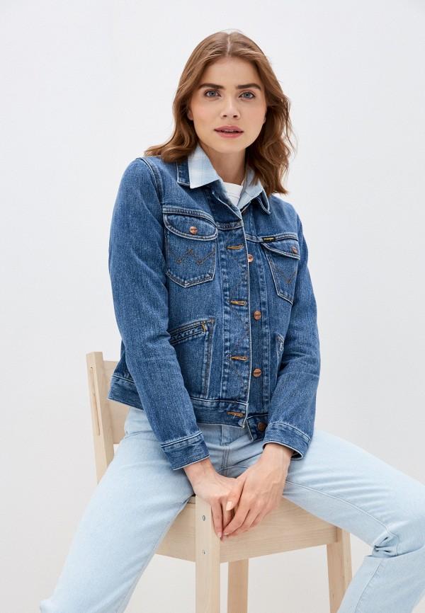 женская джинсовые куртка wrangler, синяя
