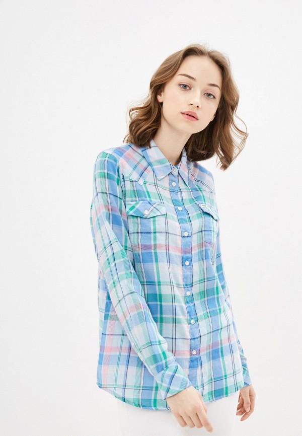 женская рубашка с длинным рукавом wrangler, голубая