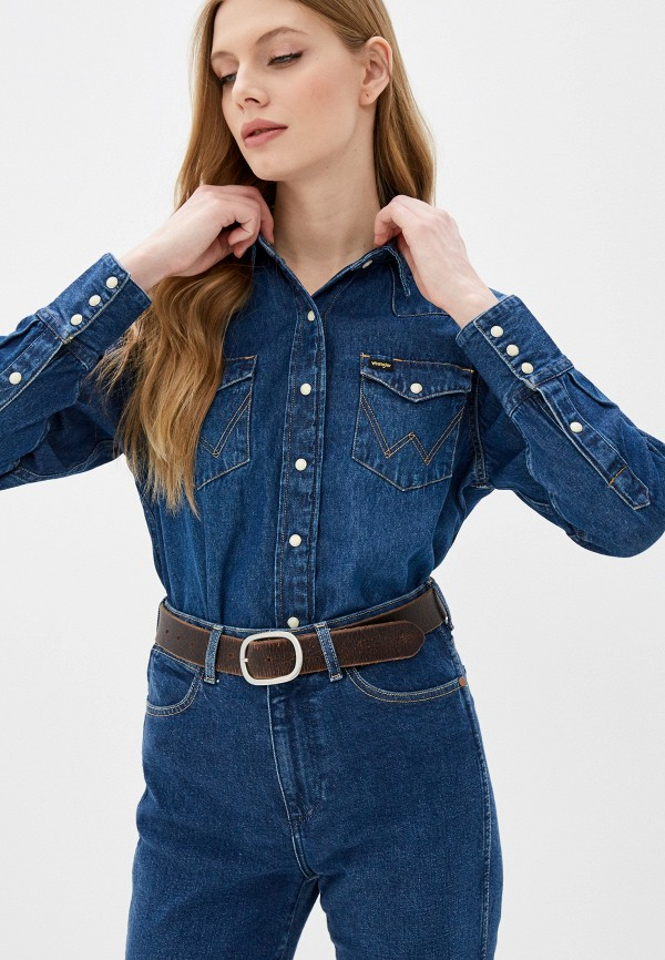 женская джинсовые рубашка wrangler, синяя