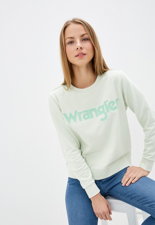 женский свитшот wrangler, зеленый