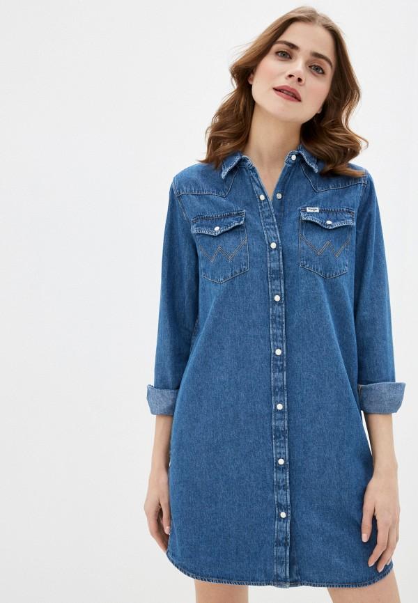 женское джинсовые платье wrangler, синее