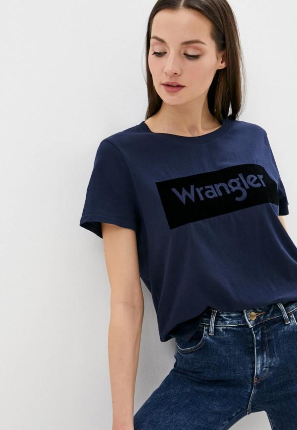 женская футболка wrangler, синяя