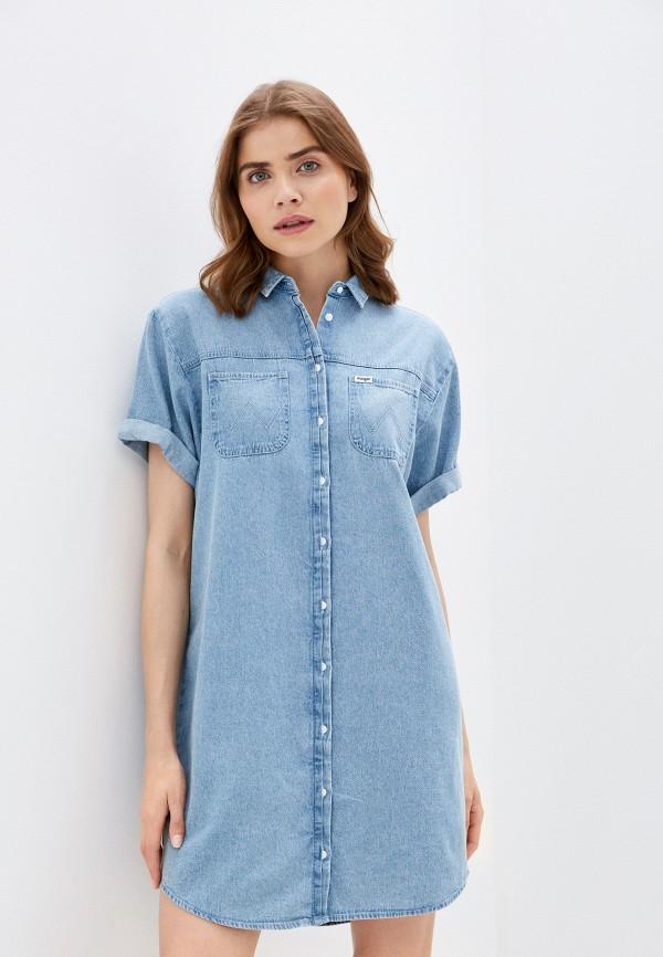 женское джинсовые платье wrangler, голубое