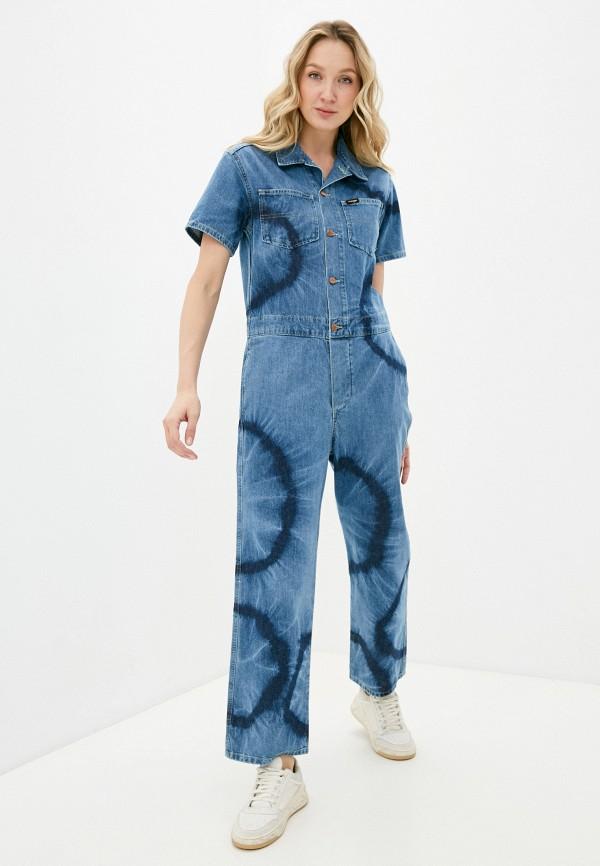 женский джинсовые комбинезон wrangler, голубой