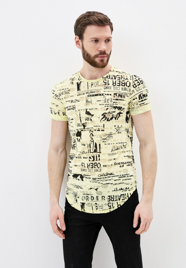 мужская футболка с коротким рукавом young & rich, желтая