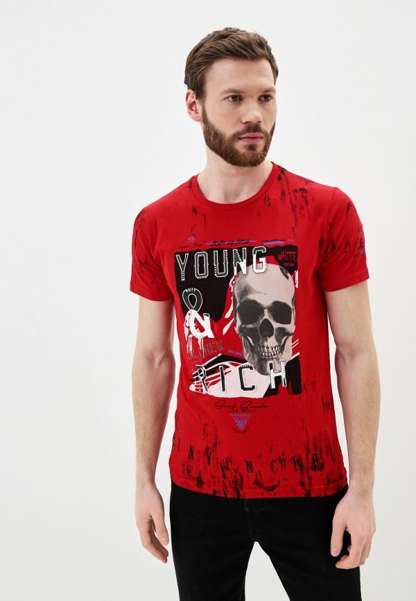 мужская футболка с коротким рукавом young & rich, красная