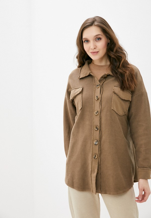 женская рубашка с длинным рукавом y.two, хаки