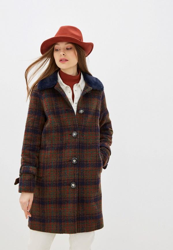 женское пальто yumi, коричневое