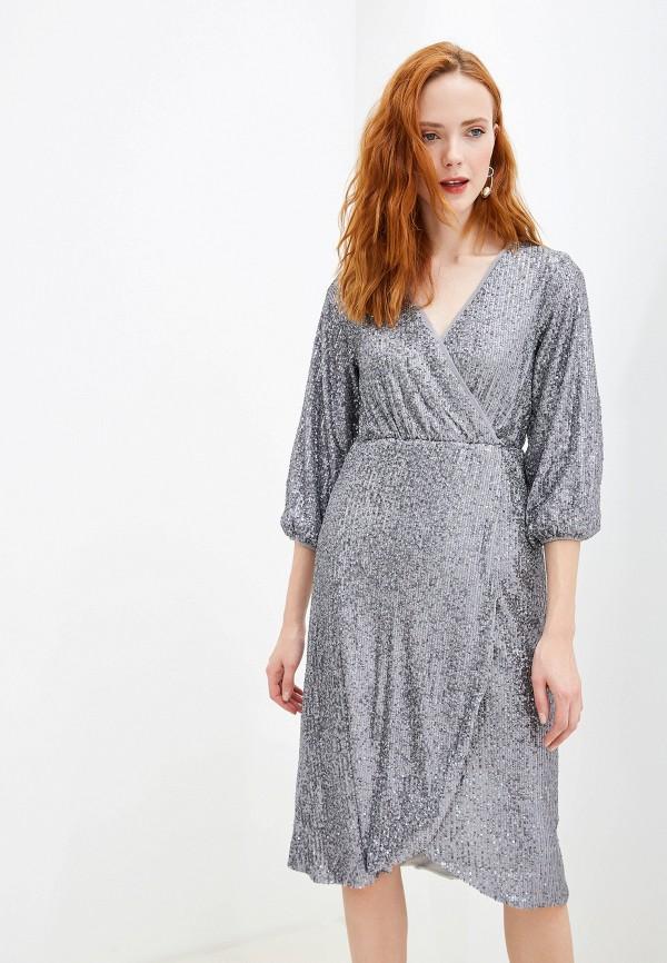 женское вечерние платье yumi, серебряное