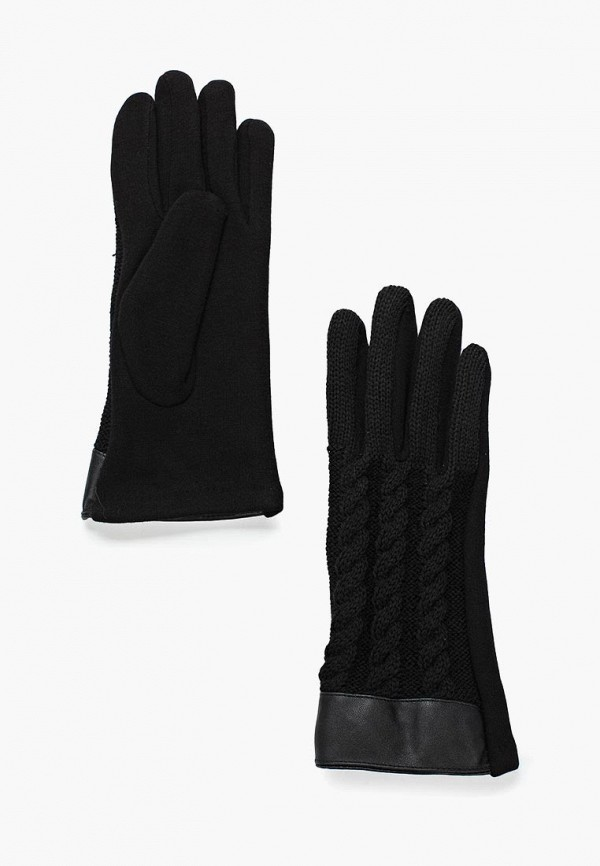 Фото - женские текстильные перчатки Zarina черного цвета