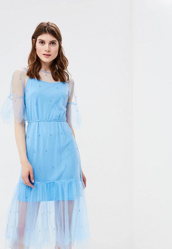 женское повседневные платье zarina, голубое