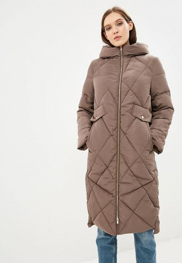 женский пуховик zarina, коричневый