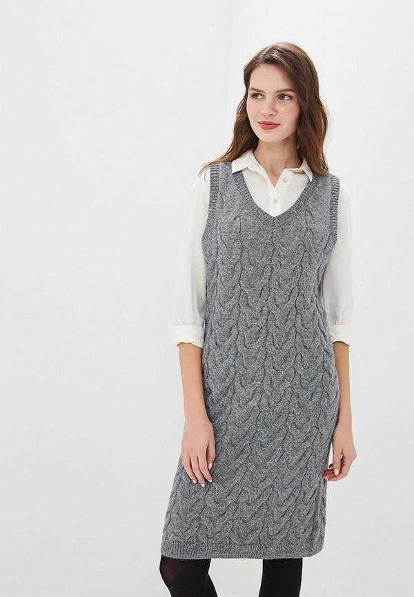 женское повседневные платье zarina, серое
