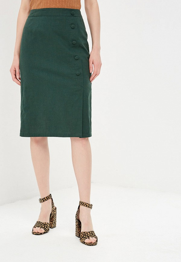 женская прямые юбка zarina, зеленая