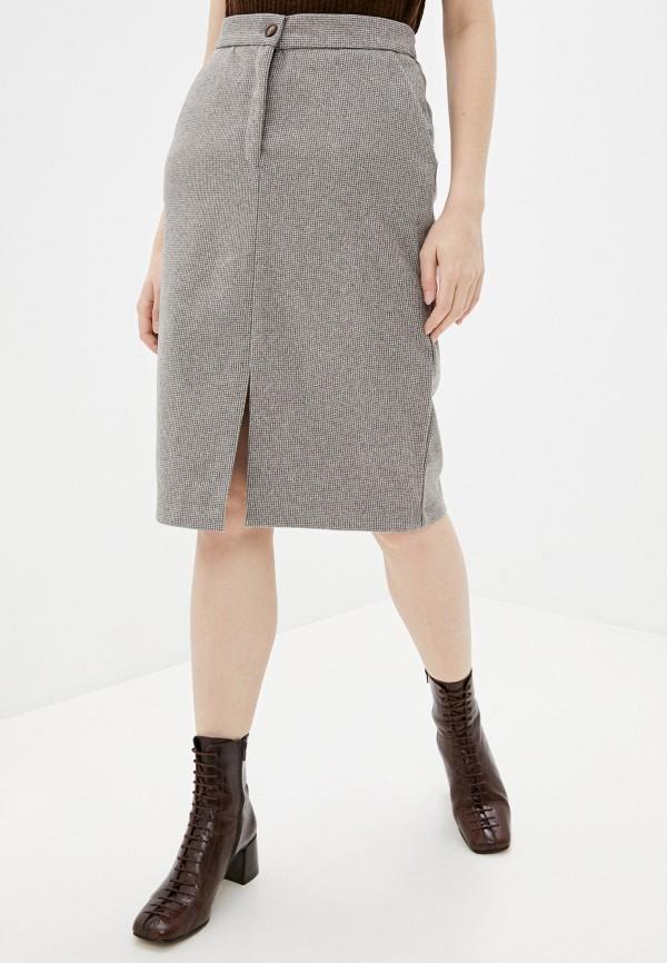 женская прямые юбка zarina, коричневая