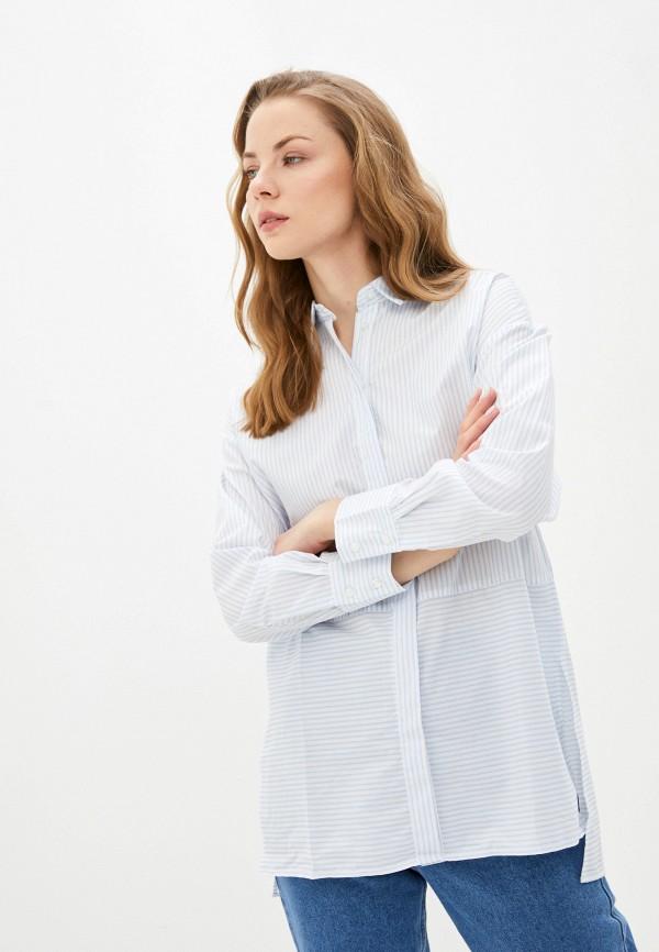 женская рубашка с длинным рукавом zarina, голубая