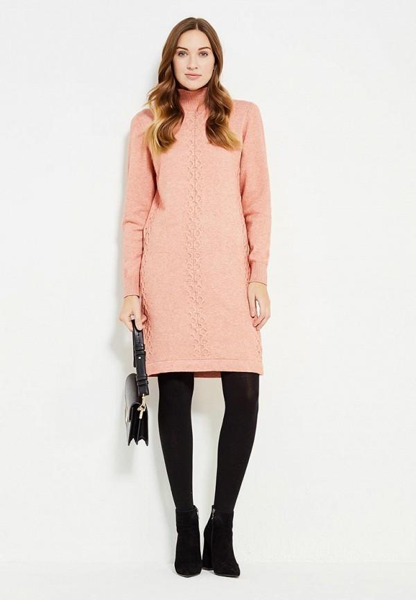 Фото 2 - женское вязаное платье Zarina кораллового цвета