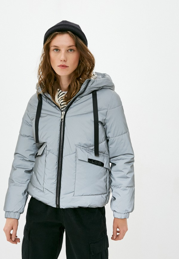 женская утепленные куртка z-design, серебряная