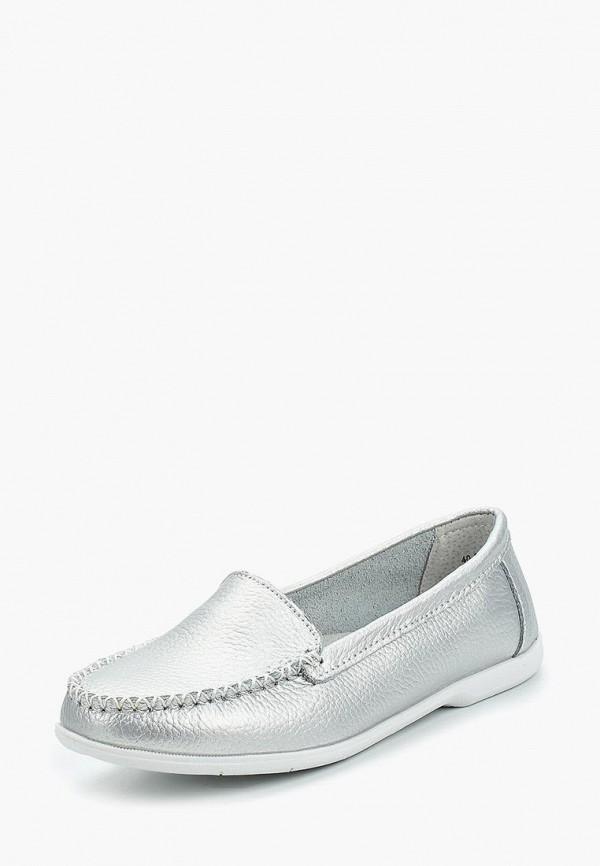 женские мокасины zenden comfort, серебряные