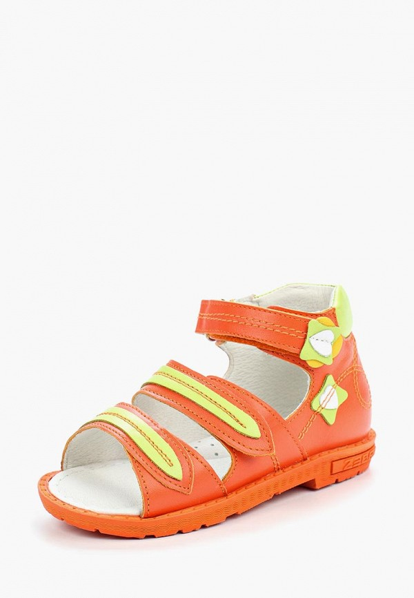 сандалии зебра для девочки, оранжевые