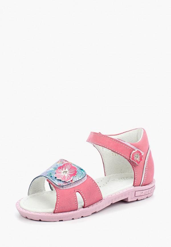 сандалии зебра для девочки, розовые