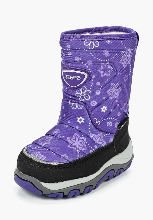 сапоги зебра для девочки, фиолетовые