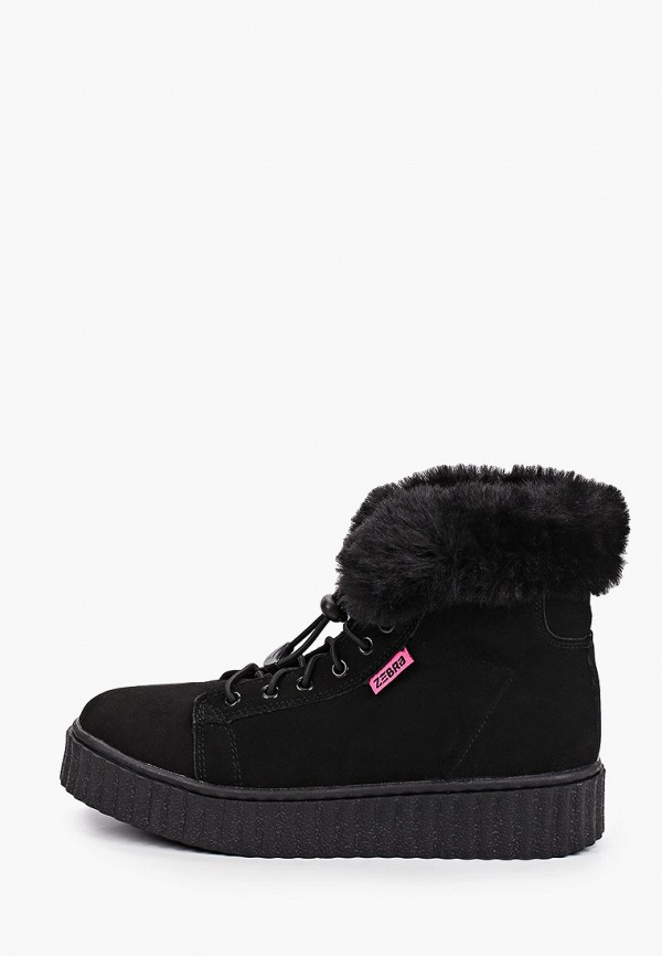 ботинки зебра для девочки, черные