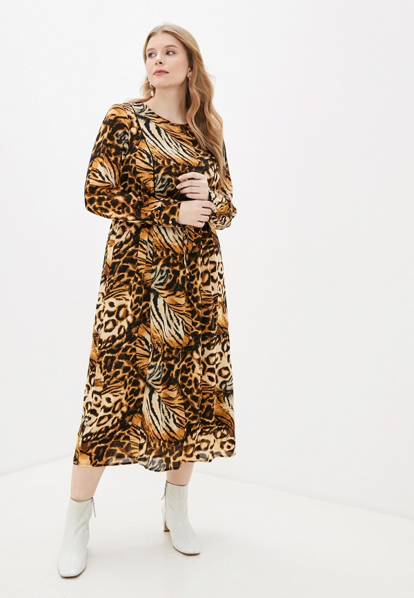 женское повседневные платье zizzi, коричневое