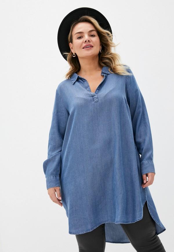 женская джинсовые рубашка zizzi, синяя