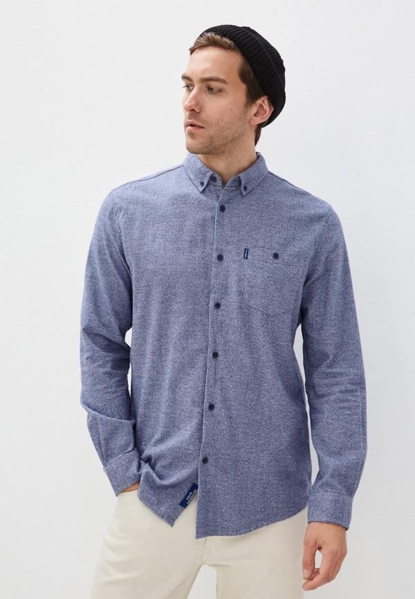 мужская рубашка с длинным рукавом zolla, синяя