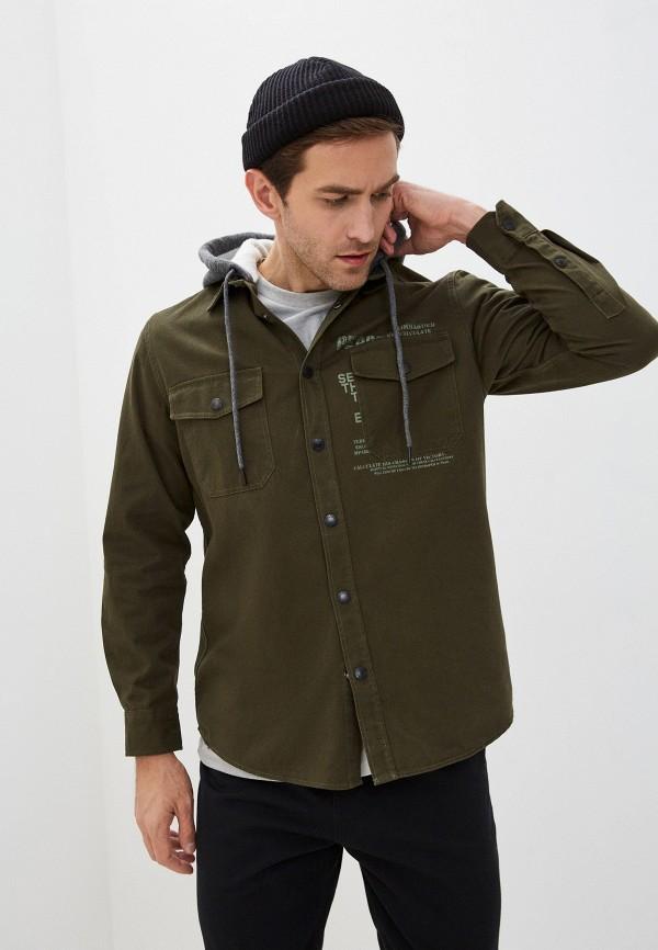 мужская рубашка с длинным рукавом zolla, зеленая