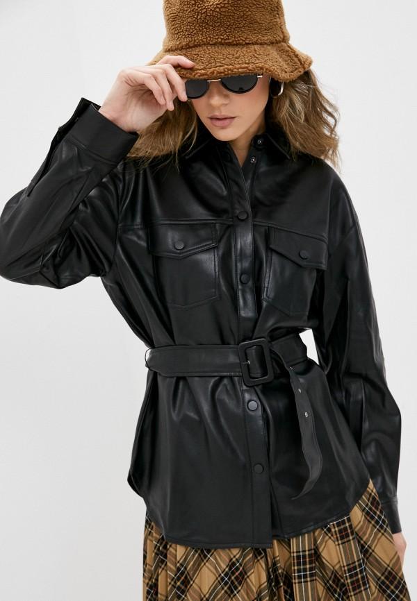 женская рубашка с длинным рукавом zolla, черная