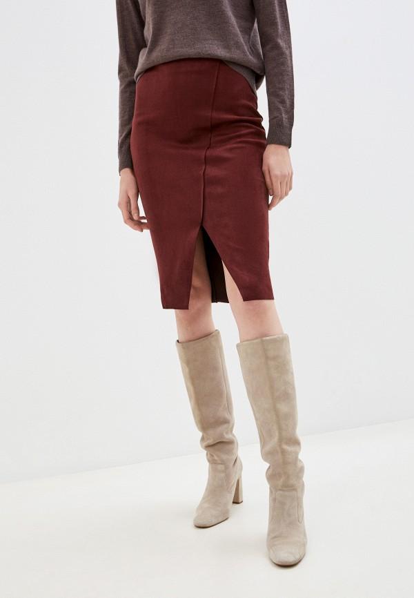женская зауженные юбка zolla, бордовая