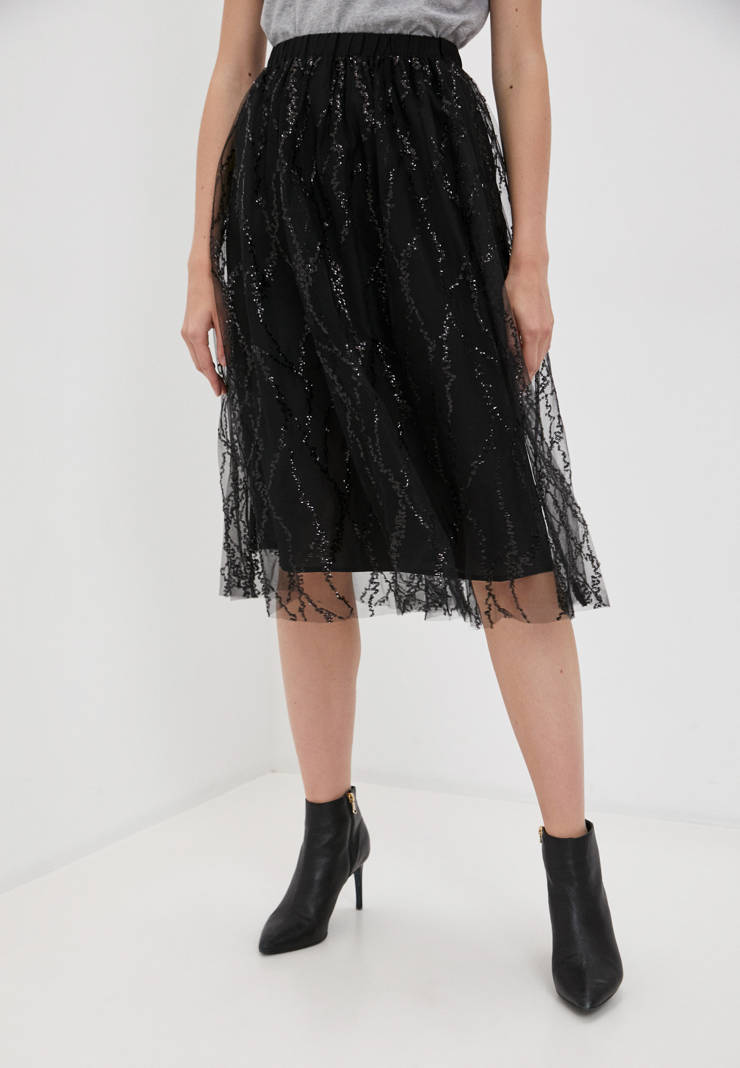 Широкая юбка DKNY P8INHCNQ/BLK