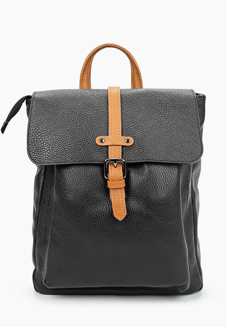 Городской рюкзак Giulia Massari 2259 BLACK+COGNAC