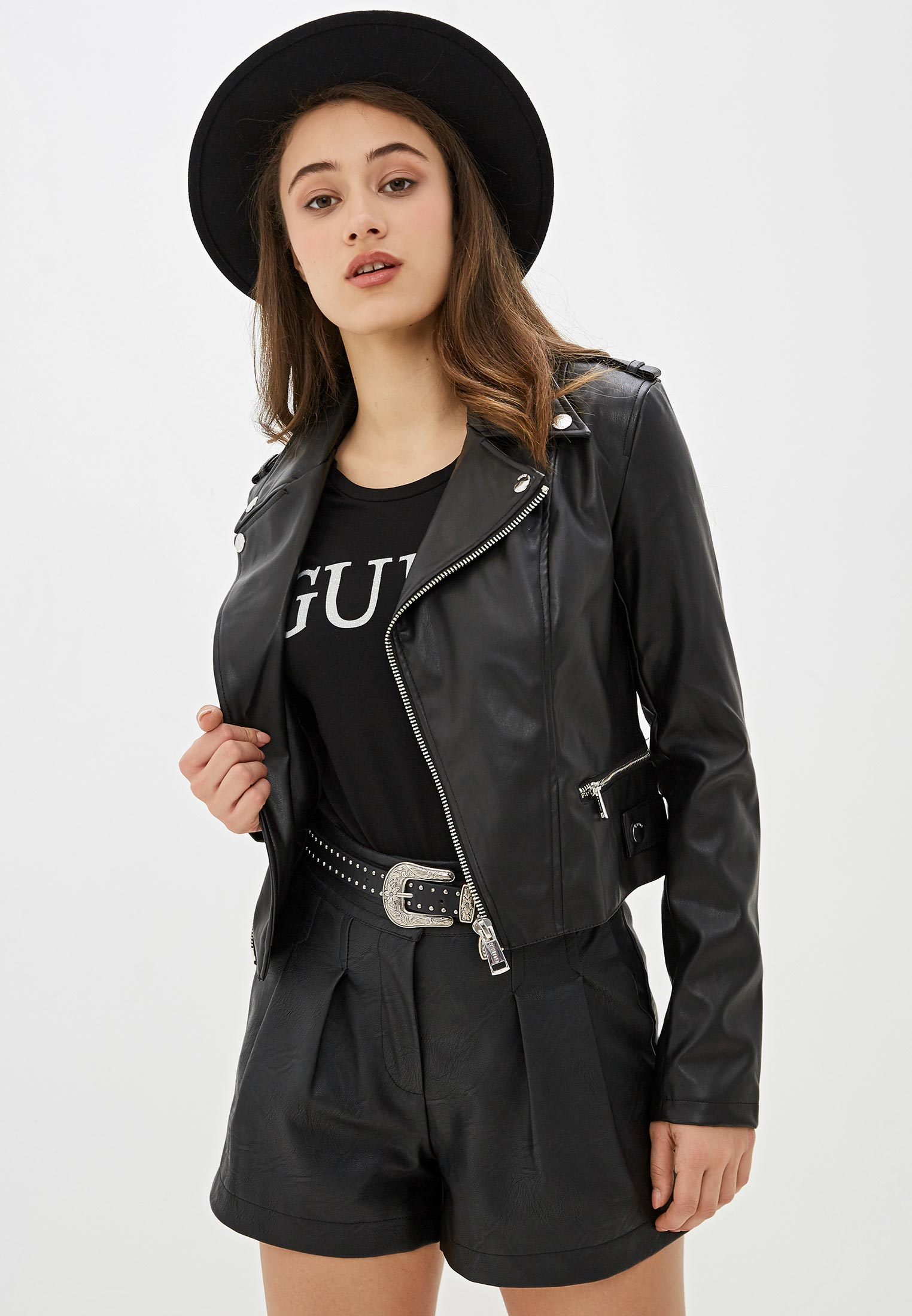 Кожаная куртка Guess Jeans w01l83 waoo0