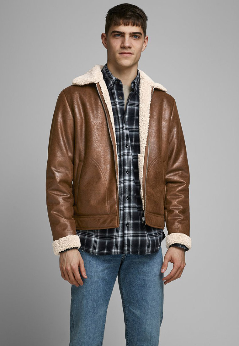Кожаная куртка Jack & Jones (Джек Энд Джонс) 12173734