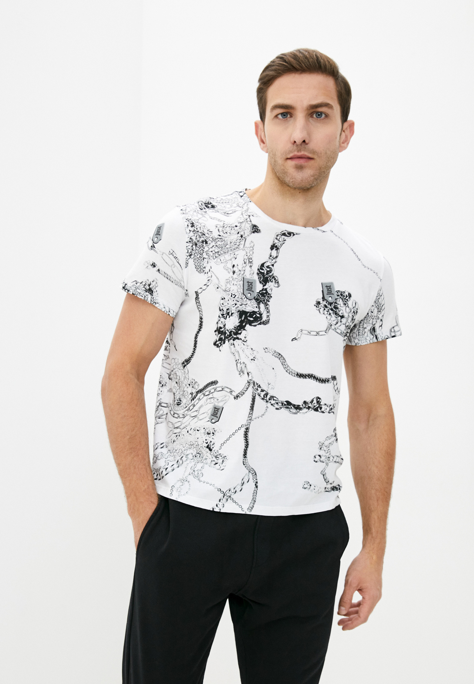 Мужская футболка Just Cavalli (Джаст Кавалли) S01GC0570 N21427