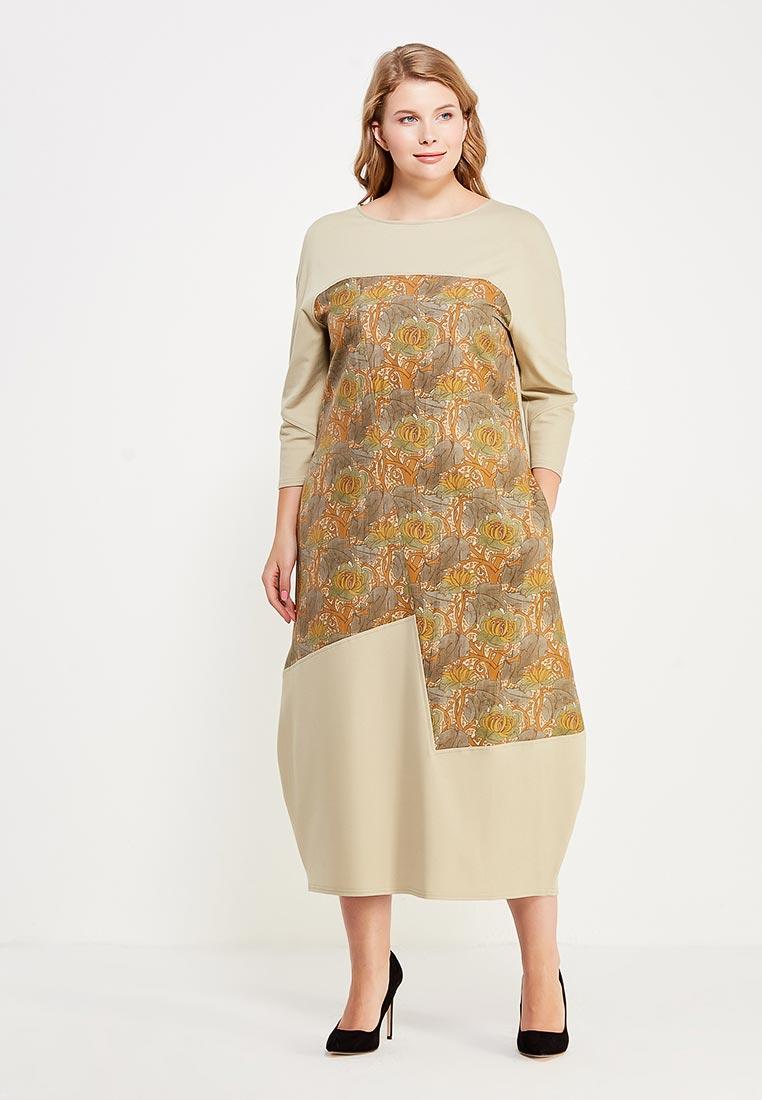 Платье-миди Larro 1024/2-олив.рыж-1