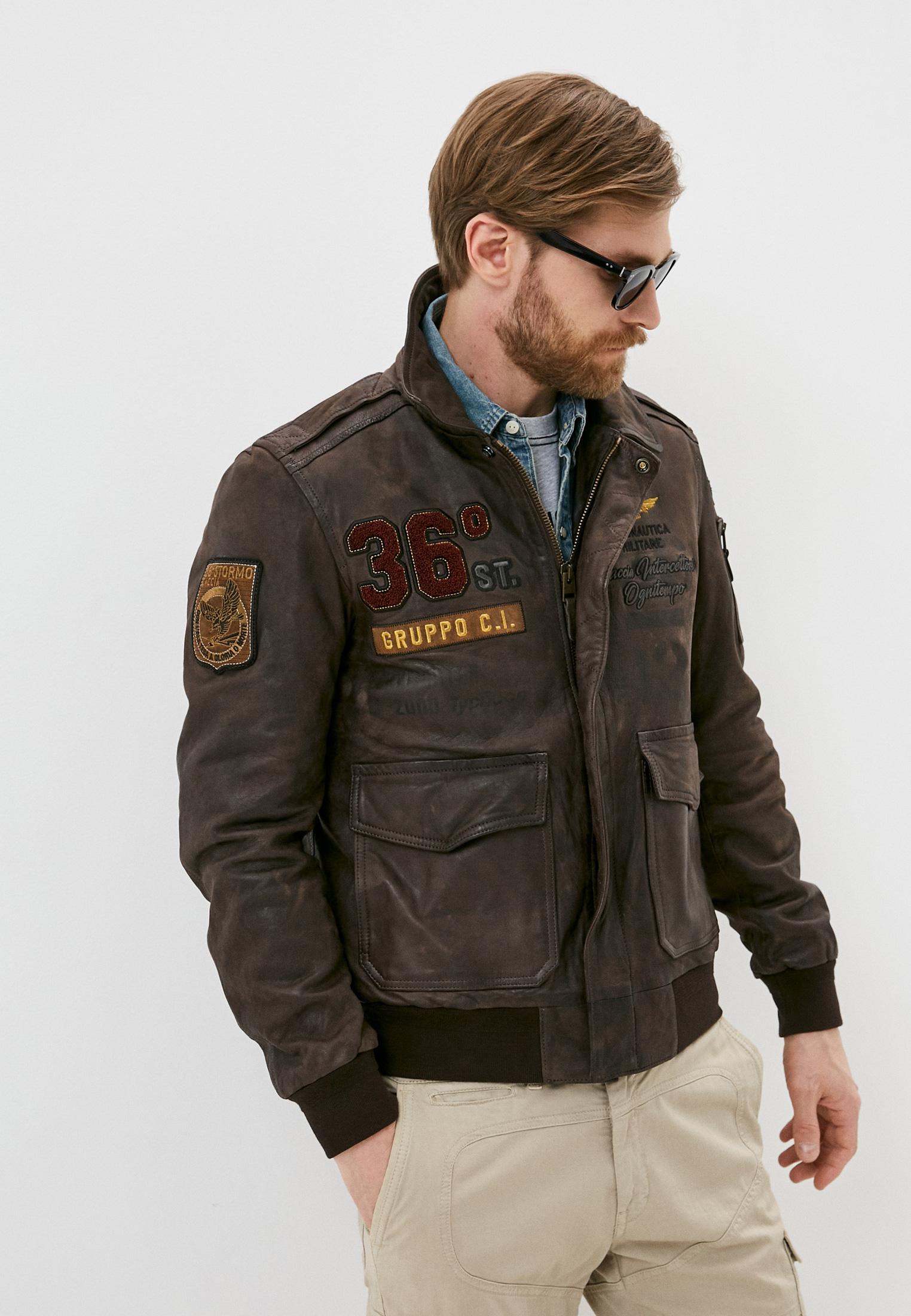 Кожаная куртка Aeronautica Militare Куртка кожаная Aeronautica Militare
