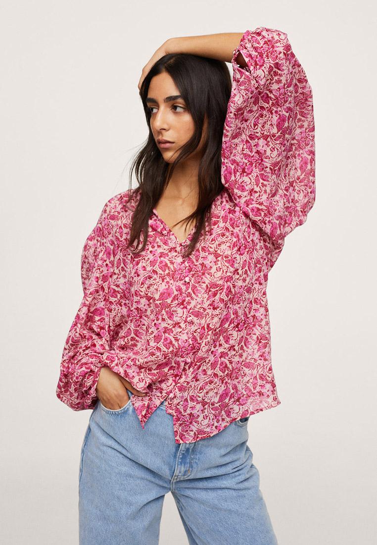 Блуза Mango (Манго) Хлопковая блузка с принтом - Riviera