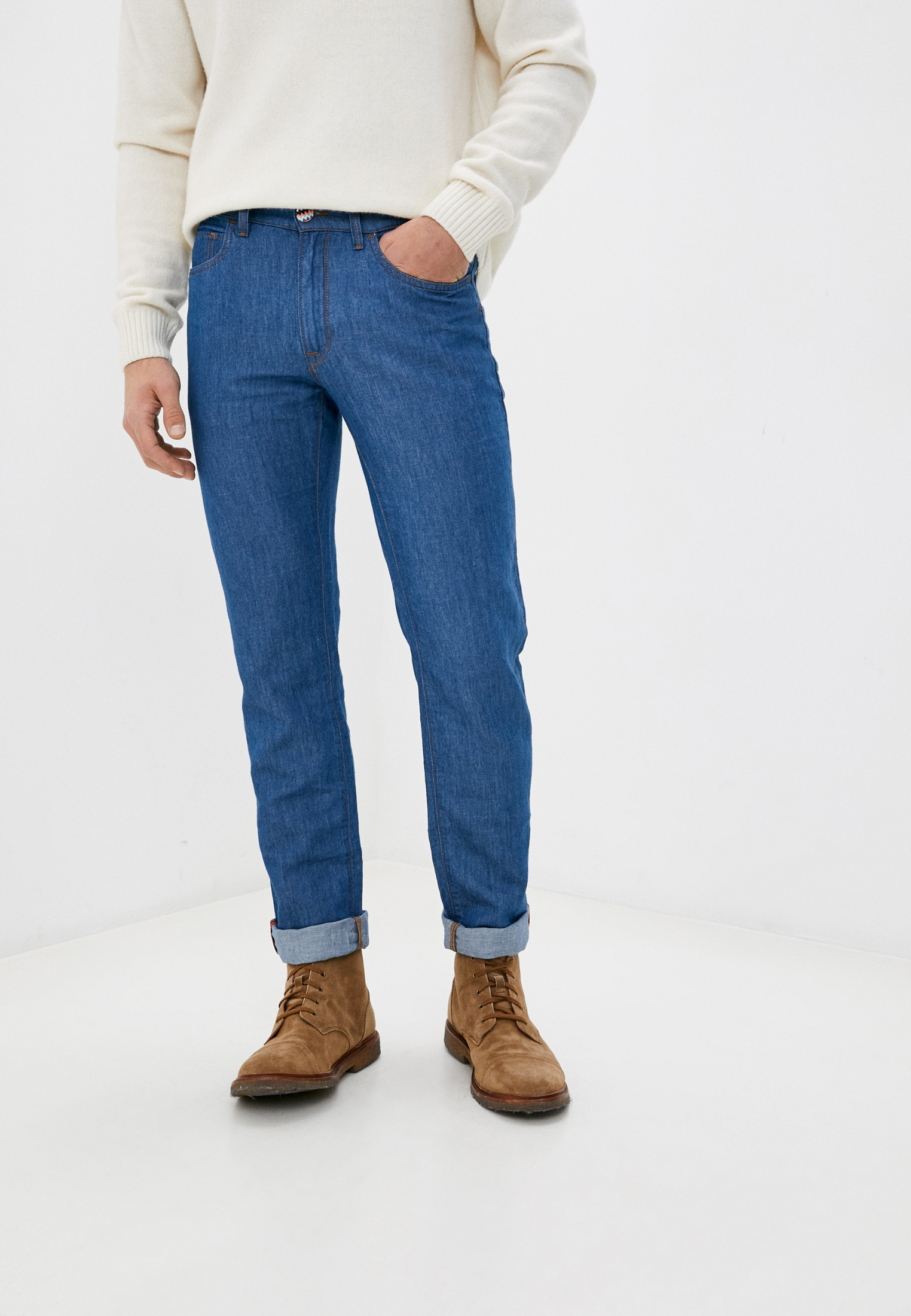 Мужские зауженные джинсы TRUSSARDI JEANS (Труссарди Джинс) 52J00001-1T000543-B-003