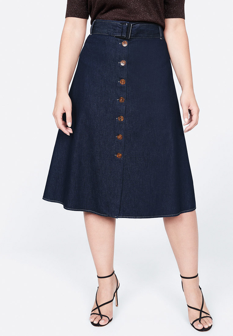 Джинсовая юбка Violeta by Mango (Виолетта бай Манго) 53063741