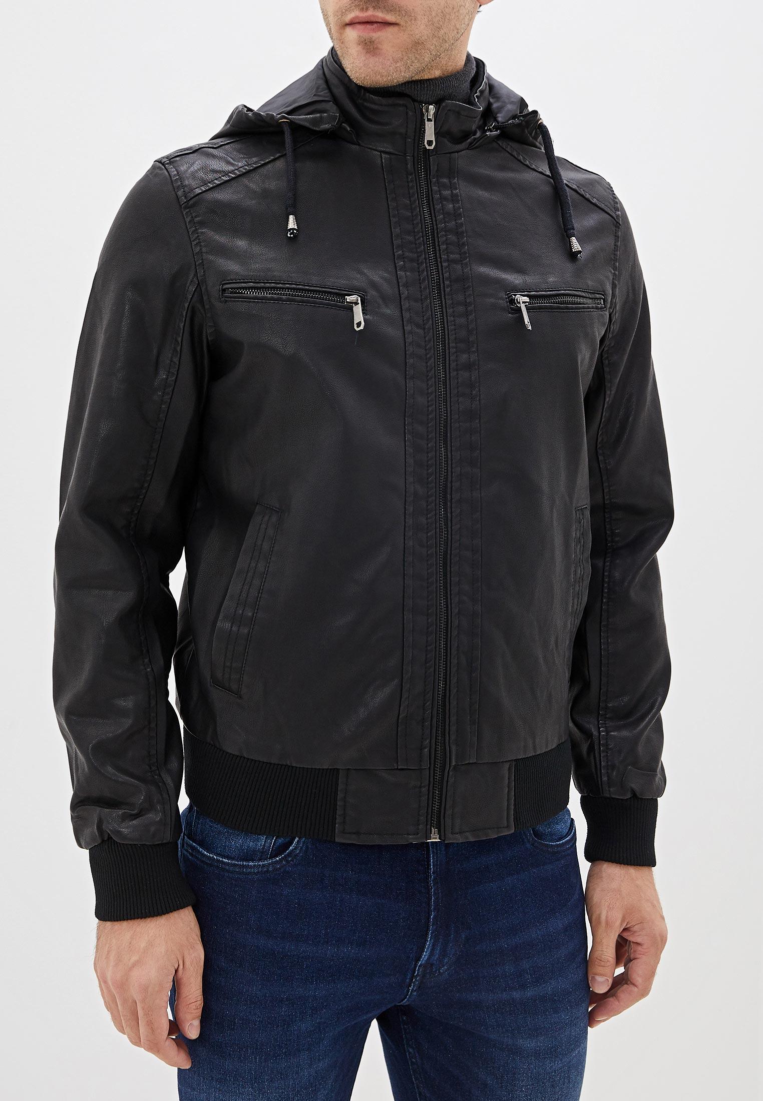 Куртка кожаная, B.Men, цвет: черный. Артикул: BM001EMGTWB7. Одежда / Верхняя одежда / Кожаные куртки