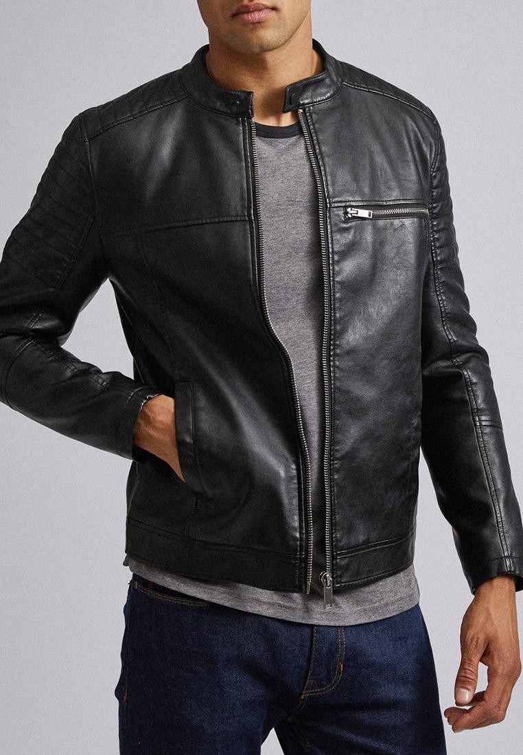 Куртка кожаная, Burton Menswear London, цвет: черный. Артикул: BU014EMGAIG2. Одежда / Верхняя одежда / Кожаные куртки