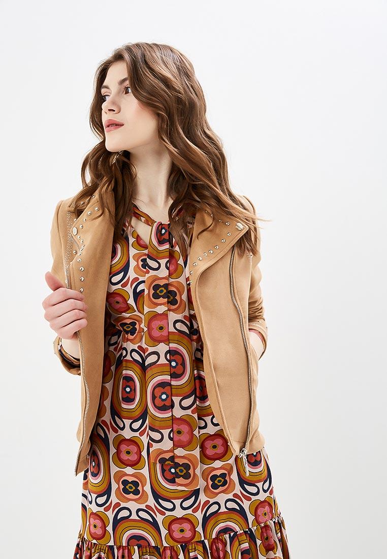 Куртка кожаная, Camomilla Italia, цвет: бежевый. Артикул: CA097EWEVRY4. Одежда / Верхняя одежда / Косухи
