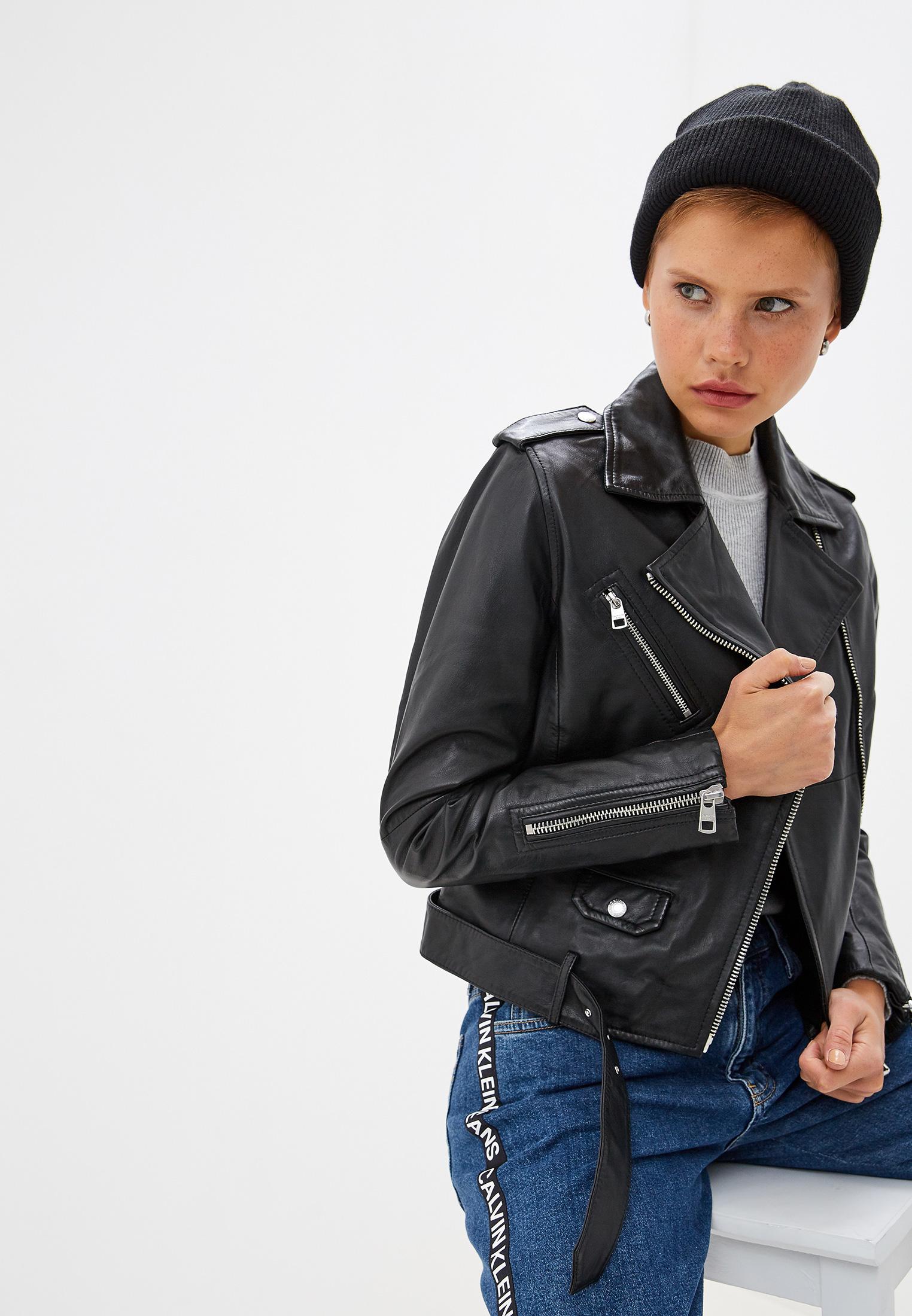 Куртка кожаная, Calvin Klein Jeans, цвет: черный. Артикул: CA939EWFQXB8. Одежда / Верхняя одежда / Косухи