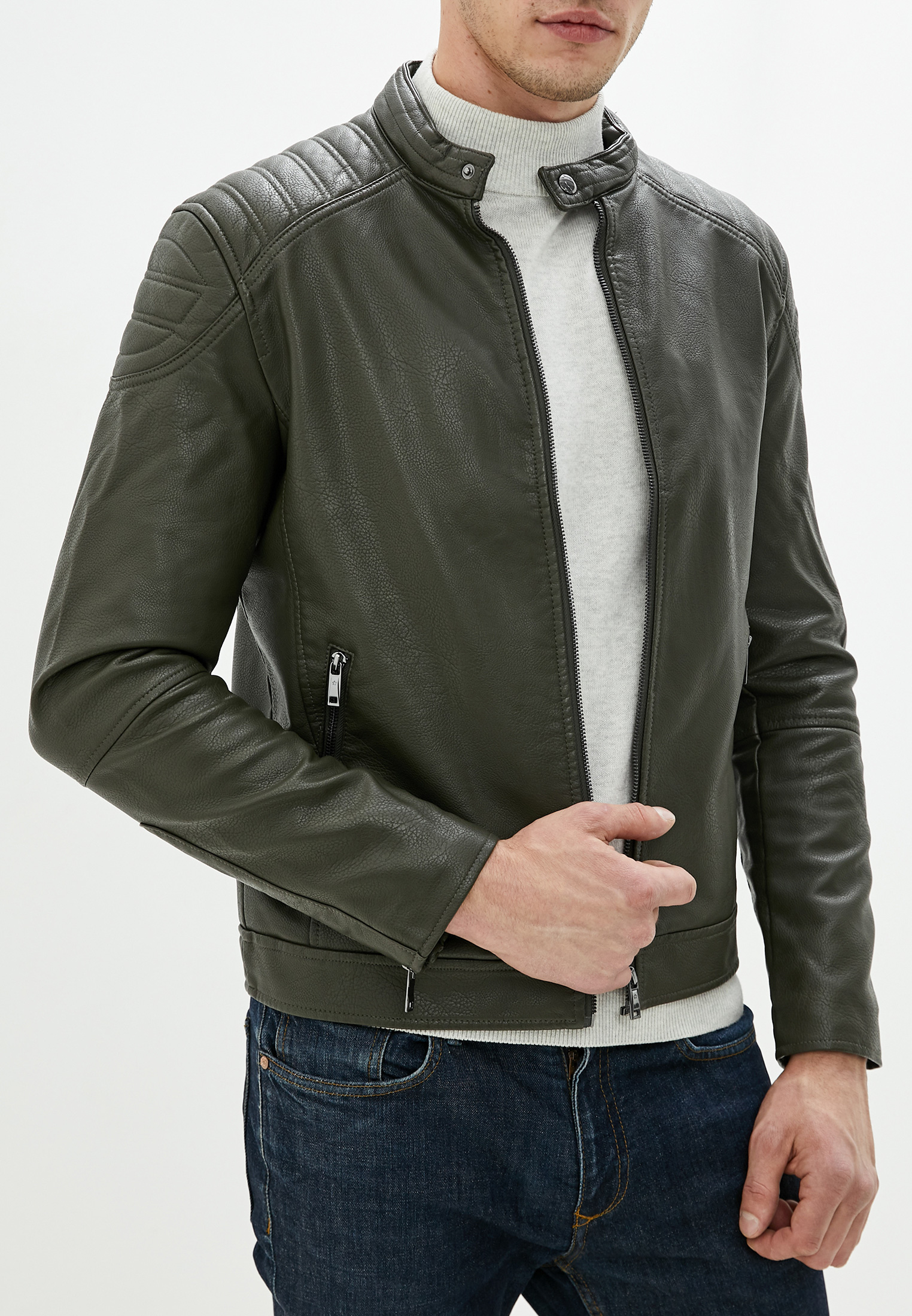 Куртка кожаная, Celio, цвет: хаки. Артикул: CE007EMEEYU7. Одежда / Верхняя одежда / Кожаные куртки