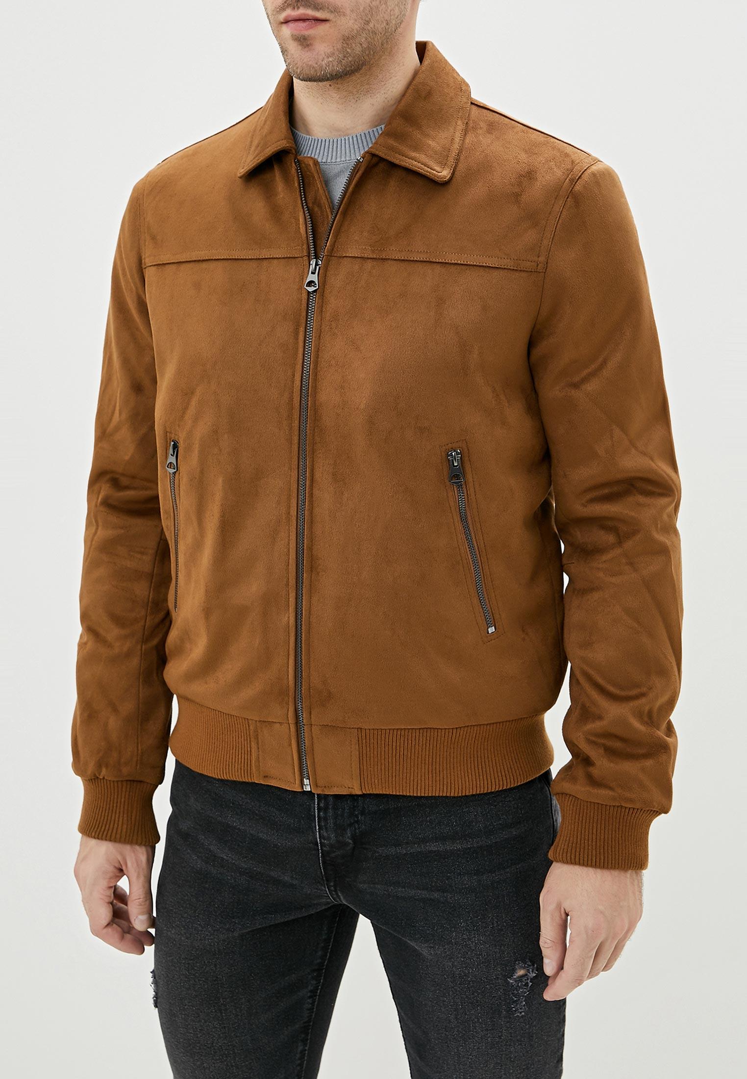 Куртка кожаная, Celio, цвет: коричневый. Артикул: CE007EMFKMB0. Одежда / Верхняя одежда / Кожаные куртки