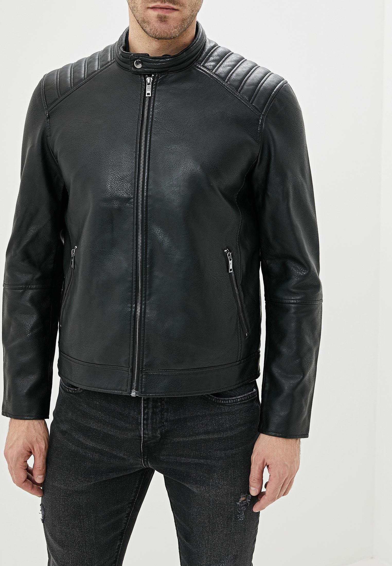 Куртка кожаная, Celio, цвет: черный. Артикул: CE007EMHEOK5. Одежда / Верхняя одежда / Кожаные куртки